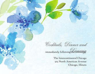Blue Floral Reception Card
