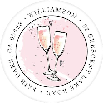 Bubbly Pink Party Round Address Label