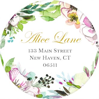 Rustic Floral Wreath Round Address Label