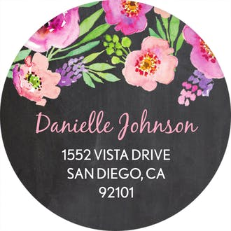 Watercolor Blossom Round Address Label