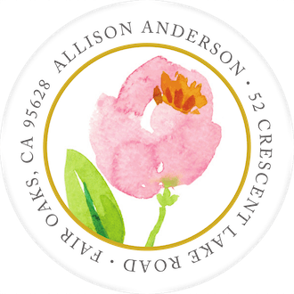 Pink Botanical Wreath Round Address Label