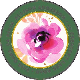 Blushing Floral Round Address Label