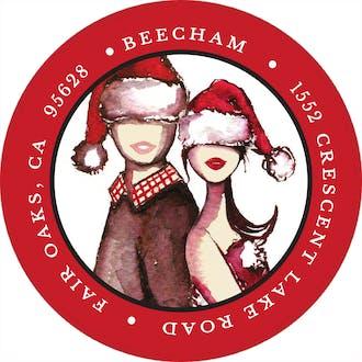 Christmas Couple Round Address Label
