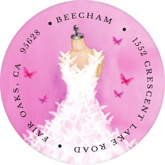 Butterfly Dress Round Address Label