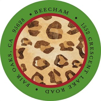 Leopard Print Round Address Label