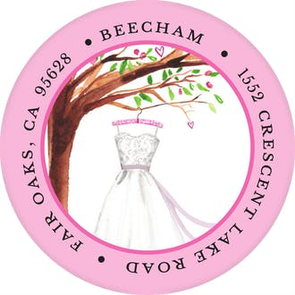 Wonderful Wedding Dress Round Address Label