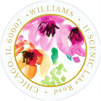 Painterly Blossoms Return Address Sticker