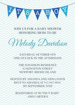 Chevron Banner Boy Invitation