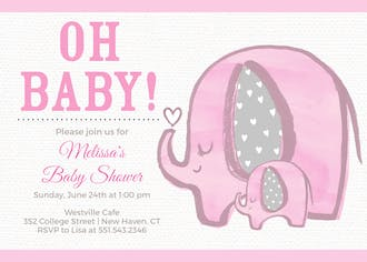 Baby Elephant - Pink Invitation