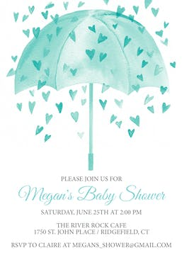 Heart Shower-Blue Invitation
