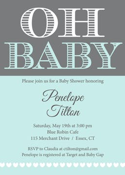 Oh Baby - Blue Invitation