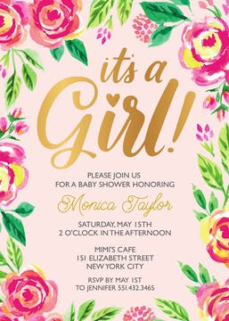 Watercolor Blossom Girl Invitation