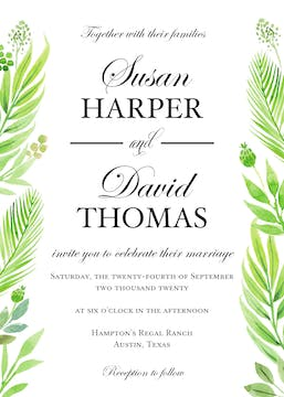 Regal Greenery Wedding Invitation
