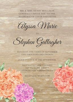 Wood Floral Invitation