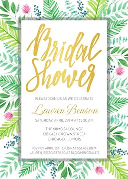 Vibrant Fern Bridal Shower Invitation