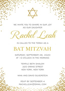 Shining Star of David Invitation