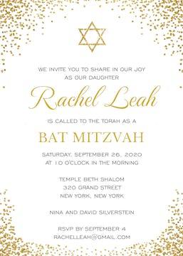 Shining Star of David Invitation