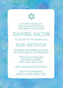 Blue Watercolor Border Invitation