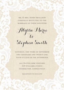 Linen Lace Invitation