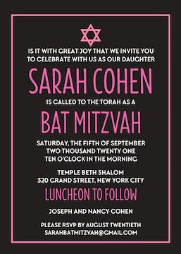 Modern Bat Mitzvah Invitation