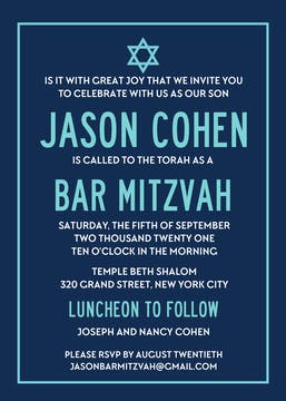 Modern Bar Mitzvah Invitation