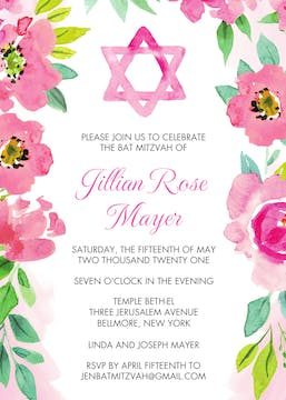 Watercolor Star of David Invitation