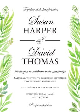 Regal Greenery Wedding Invitation