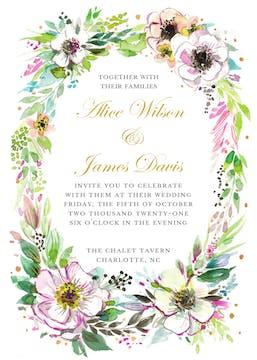 Rustic Floral Wreath Invitation