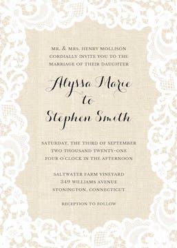 Linen Lace Invitation