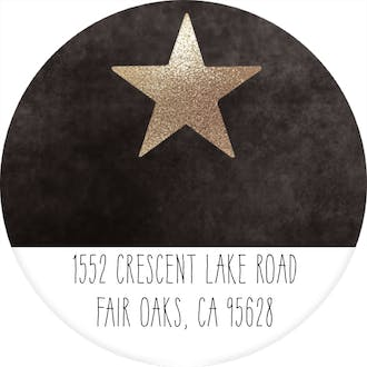 Glitter Star (Gold) Round Address Label