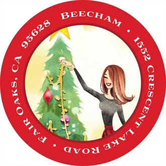 Holiday Sparkle Tree Round Address Label