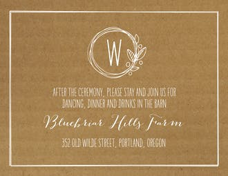 Natural Love Reception Card