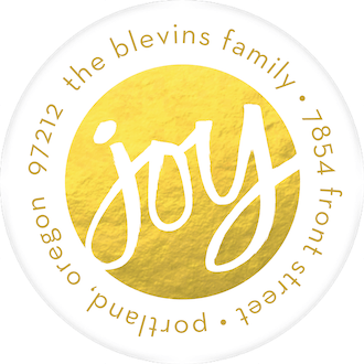 Joy (Faux) Foil Round Address Sticky