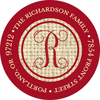 Burlap Border - Red Round Address Sticky