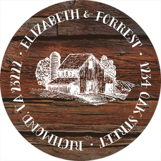 Barn Wood Return Address Sticky