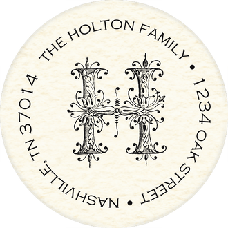 Ornate Monogram Round Address Sticky