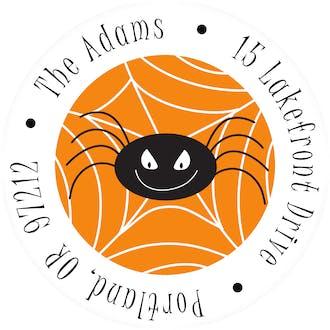 Spooky Spiders Round Address Sticky