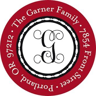 Ornamental Garland-Ruby Round Address Sticky