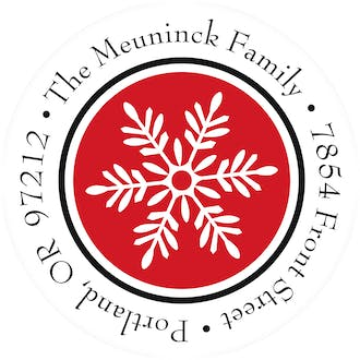 Fanciful Snowflakes-Red Round Address Sticky