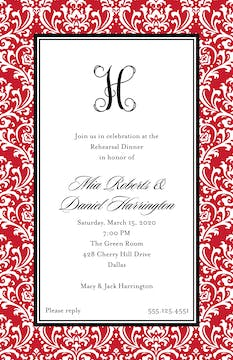 Vintage Damask - Red Invitation
