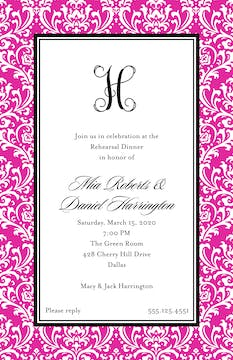 Vintage Damask - Fuschia Invitation