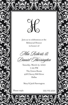 Vintage Damask - Black Invitation