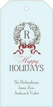 Elegant Wreath Blue Holiday Gift Tag