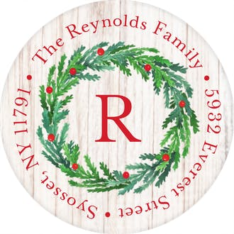 Joyous Wreath Round Address Sticky