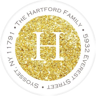 Champagne Sparkle Round Address Sticky