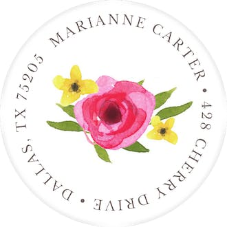 Floral Motif Round Address Sticky