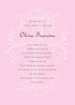 Sacred Cross - Pink Invitation