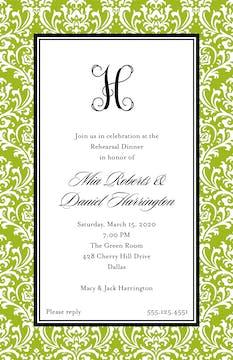 Vintage Damask - Green Invitation