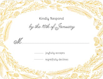 Ring Of Love Foil Pressed Reply Card