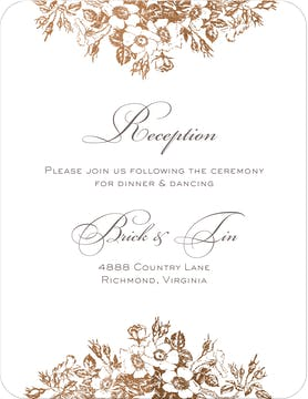Bouquet Border Foil Pressed Reception Card